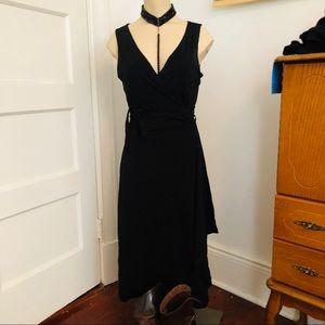 90s Vtg! BCBG black midi wrap dress!